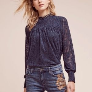 Anthropologie Deletta Amanna Navy Smocked Lace Top